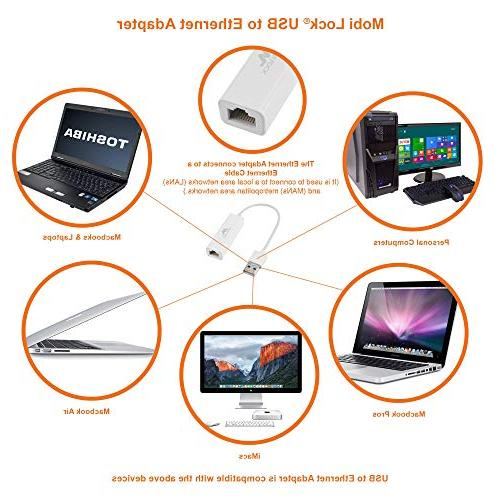 Mobi Ethernet Network Adapter for MacBook Pro, iMac, Laptop, and All Compatible Devices 10/8.1/8 / Vista/XP