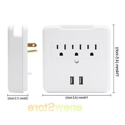 USB Outlet Tap Electrical Charger Surge Adapter