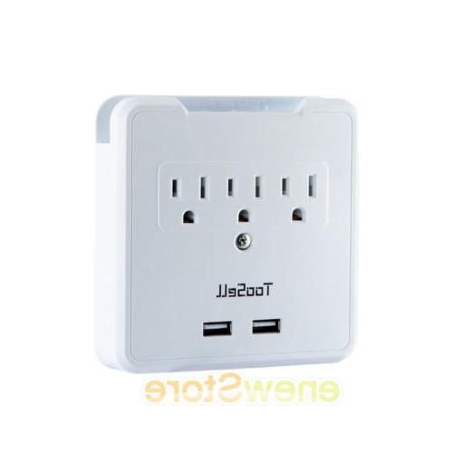 3 Outlet Surge With 2 USB Wall Charger Adapter