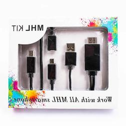 MHL Micro USB 11pin 5pin to HDMI Adapter Cable Kit 1080P For