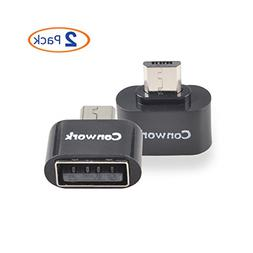 Conwork 2-Pack Micro USB 2.0 OTG Adapter, Micro USB Male to