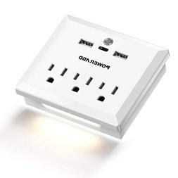 Poweradd Multi Outlets Wall Mount Adapter with 3 AC Outlets,