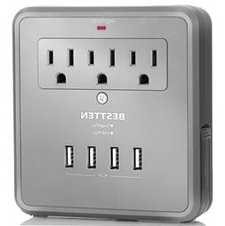 BESTTEN Multi Outlet Wall Tap Adapter Surge Protector with 4