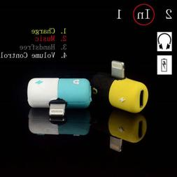 New Cute Pill Dual Lightning Audio Music Cable Adapter Charg