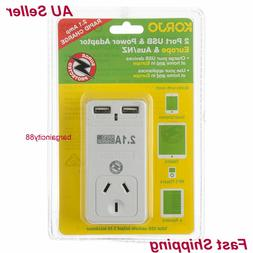 New Korjo2Port USB Power Plug Charger Adaptor For Europe & A
