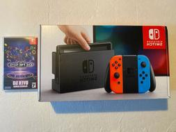 NEW Nintendo Switch with Neon Blue and Neon Red Joy‑Con Ha