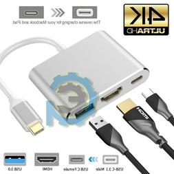 New USB 3.1 Type C to USB-C 4K HDMI USB 3.0 Hub Adapter Cabl