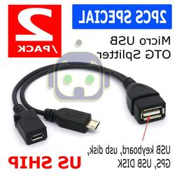 OTG Power Splitter Y Cable Micro USB Male to USB A Male Fema