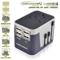 Travel Plug Adapter - 4 USB Charging Ports Wall Charger - fo