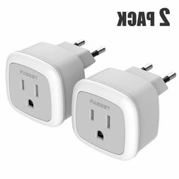 TESSAN Portable Power Plug Adapter for USA to Most of Europe