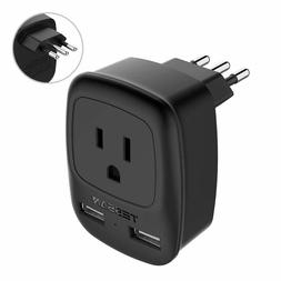 TESSAN Power Plug Adapter with 1 AC Outlet & 2 USB Ports for