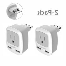 Power Plug Adapter with AC Outlet & 2 USB Ports for USA to I