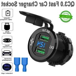 QC 3.0 Fast Car Charger Cigarette Lighter Socket Dual USB Ad