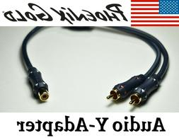 RCA Y-Adapter Splitter 2-Male to 1-Female RCA Subwoofer Audi