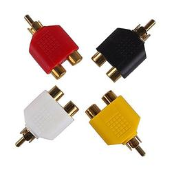 yueton 4pcs RCA Y Splitter Adapter 2 Female to 1 Male for Au