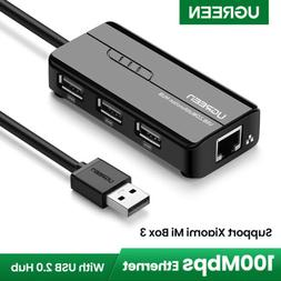 Ugreen RJ45 Ethernet Network Adapter USB 2.0 Hub 10/100Mbps