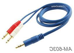 3ft CablesOnline 3.5mm Stereo Male to Dual  Mono 3.5mm Blue