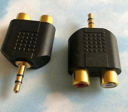 TWO Adapters 3.5mm Audio Headphones Jack to 2 RCA Splitter A