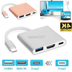 Type C to HDMI USB-C 4K USB 3.0 Charger Adapter Cable 3 in 1