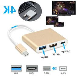 Type C to USB-C 4K HDMI USB 3.0 Multi Port Hub Adapter Cable