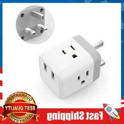 UK to US Travel Power Plug Adapter w/2 USB and 3 American So