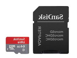 SanDisk Ultra 64GB microSDXC UHS-I Card with Adapter-Grey/Re