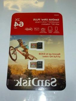 SanDisk Ultra Plus 64GB microSDXC UHS-I Card with SD Adapter