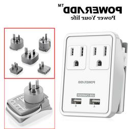 2 Outlet 2 USB Power Strip Universal Travel Charger Adapter