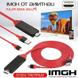 US 1080P 6ft 8 Pin Lightning to HDMI TV AV Adapter Cable for