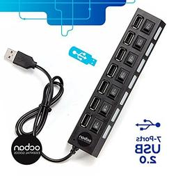 7 Port USB 2.0 Hub with Individual Power Switches and LEDs O