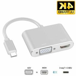 USB 3.1 Type C To VGA Multiport Adapter USB C To HDMI 4K UHD