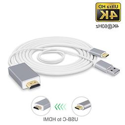 USB-C to HDMI Cable 6Ft with Charging Port CoocoTech USB Typ