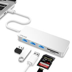 USB C Hub, EQUIPD 5 IN 1 Aluminum Type C Adapter with 3 USB