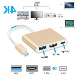 USB C to HDMI Adapter 4K,3 in 1 Type-C to HDMI Multiport Ada