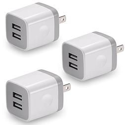 USB Wall Charger, BEST4ONE 3-Pack 2.1A/5V Dual Port USB Plug