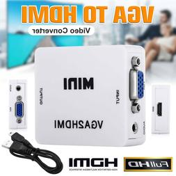 VGA to HDMI Mini Full HD Video 1080P Audio Converter Adapter