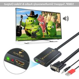 VGA input to HDMI output Adapter Converter Cable Audio Suppo