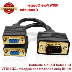 VGA Splitter Cable 1 Computer to Dual 2 Monitor Male to 2 Fe