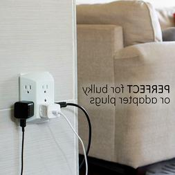 Wall Socket Splitter Divider Electrical Multi Plugs 6 Outlet