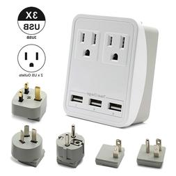 Outtag World Travel Adapter Kit - 3 USB + 2 US Outlets, Incl