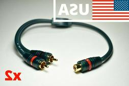 x2 RCA Y-Adapter Splitter 1-Female to 2-Male Subwoofer Audio
