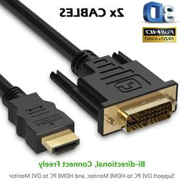 HDMI TO DVI CABLE 10ft 15ft For TV LCD DVD LED 3D HDTV MONIT